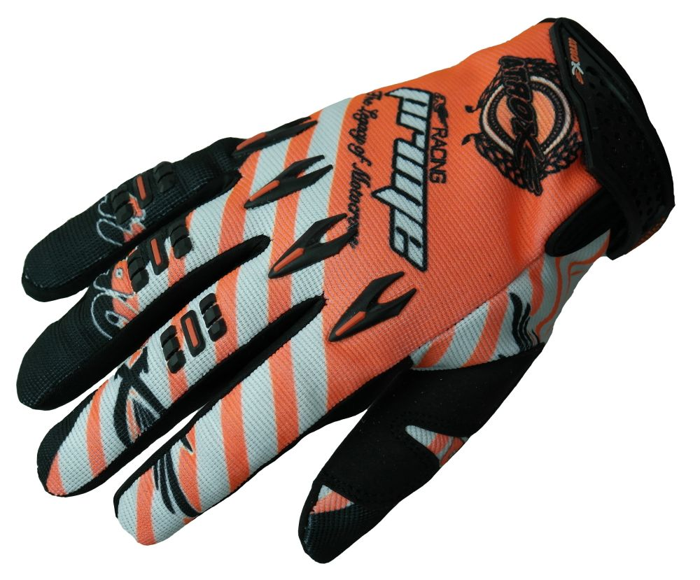 Heyberry MX-Cross Quad Motocross  Handschuhe schwarz weiß orange  M L XL XXL