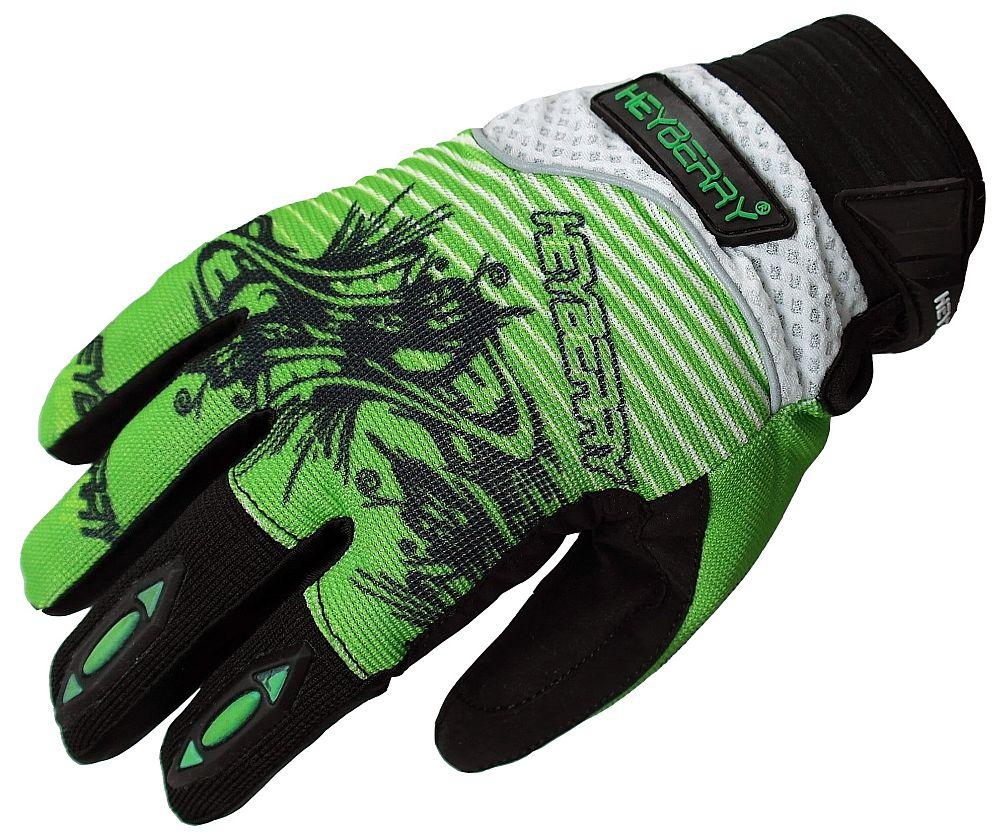 Heyberry Motocross Enduro MX Handschuhe schwarz grün weiß Gr. M -  XXL