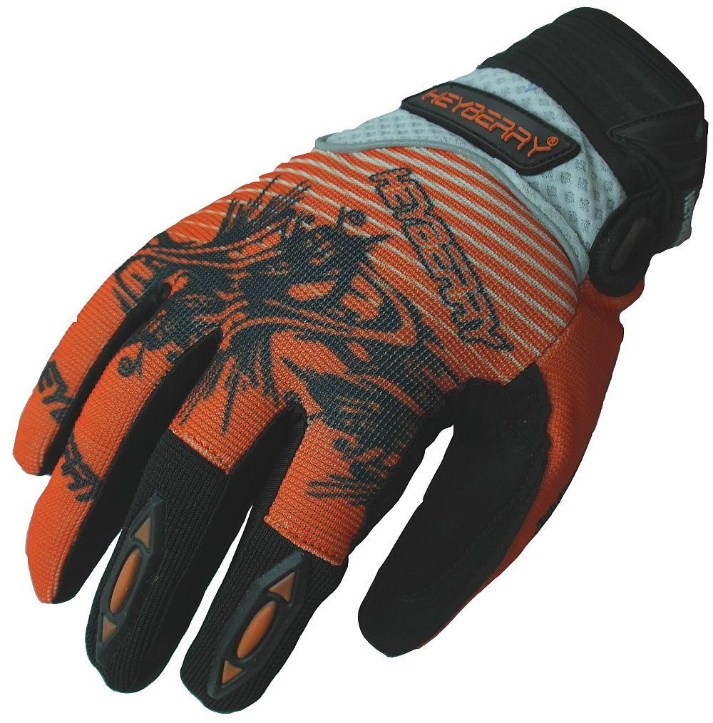 Heyberry Motocross Enduro MX Handschuhe schwarz orange weiß Gr. M -  XXL