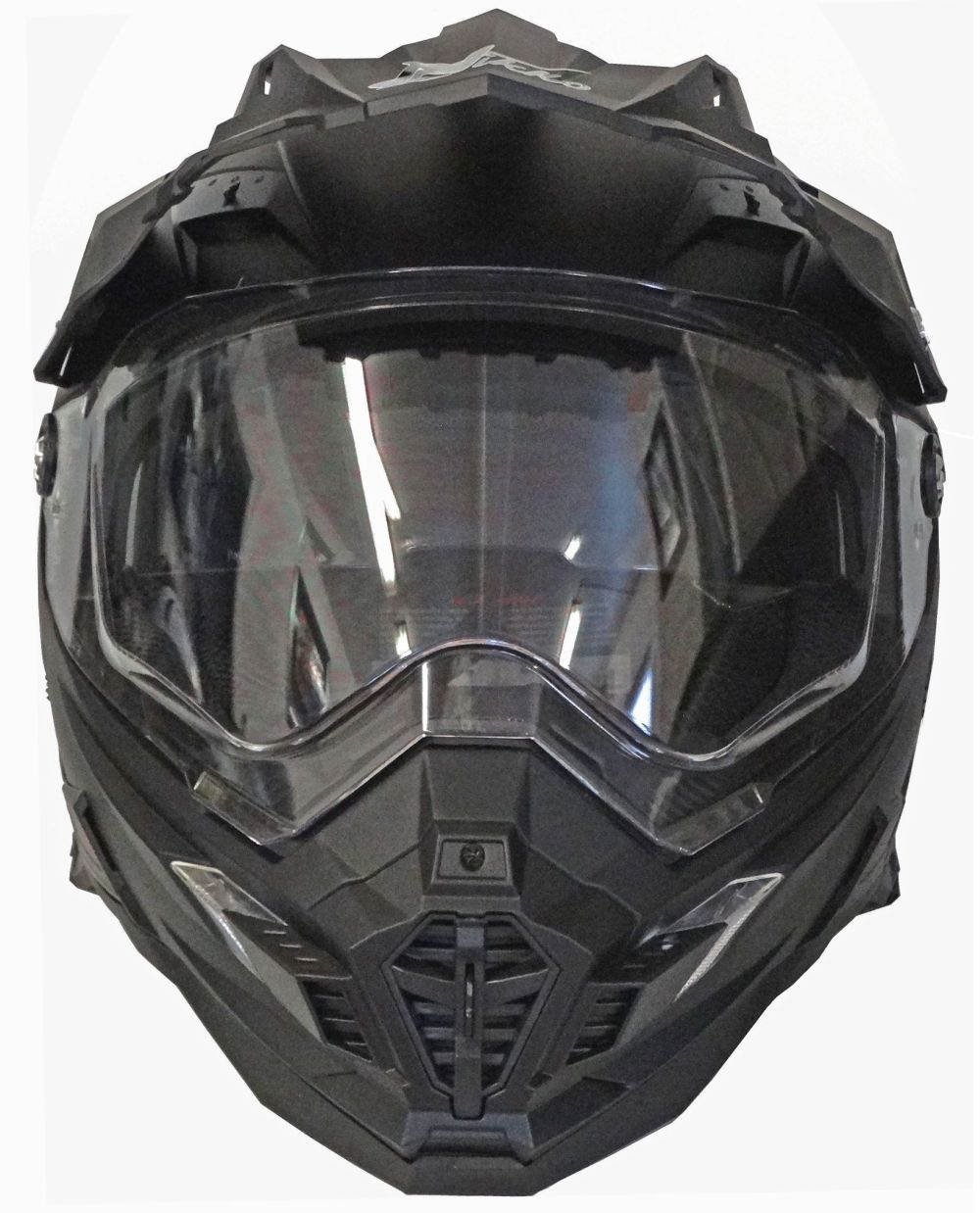 motorradhelm mx enduro quad helm matt schwarz mit visier. Black Bedroom Furniture Sets. Home Design Ideas