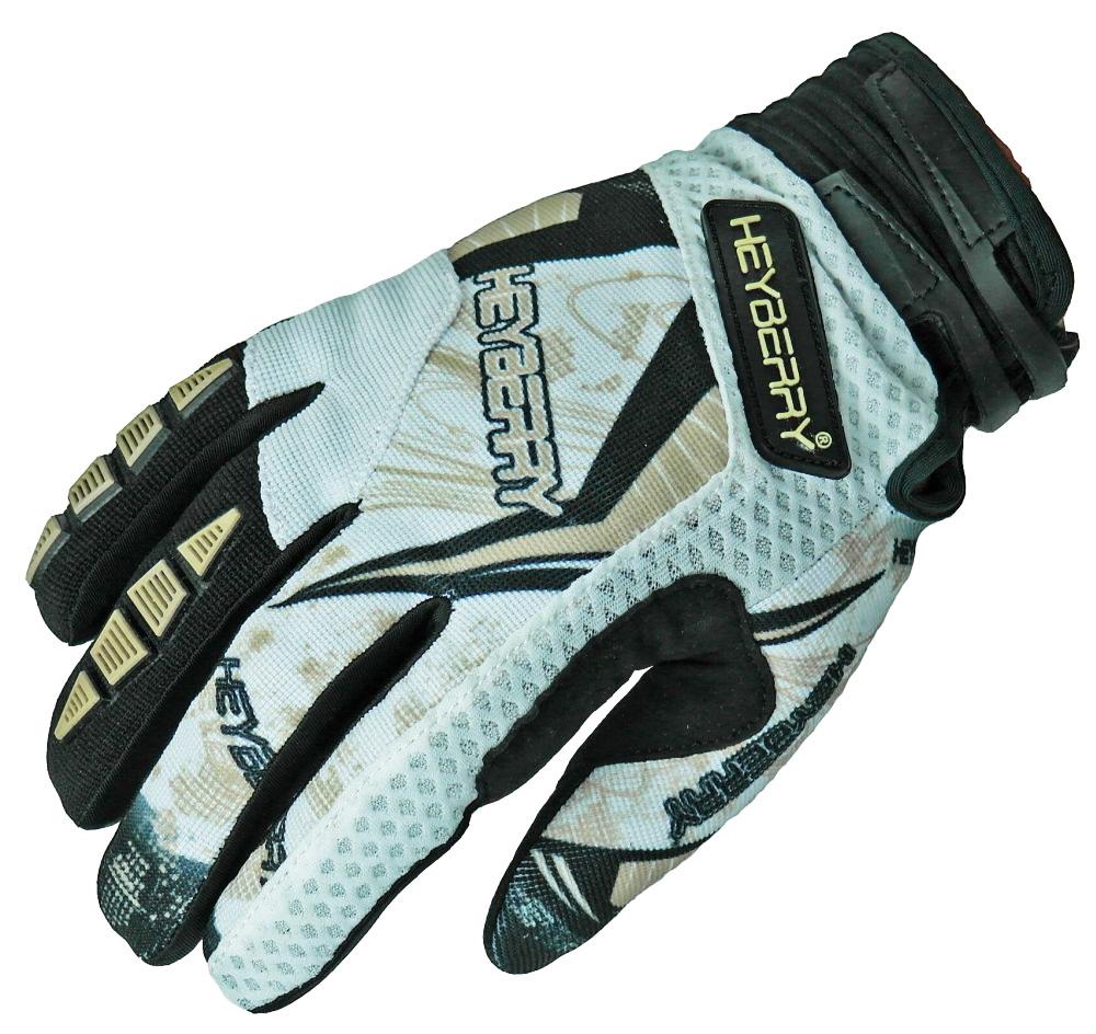 Heyberry Motocross MX Handschuhe schwarz weiß gold Größe: S - XXL