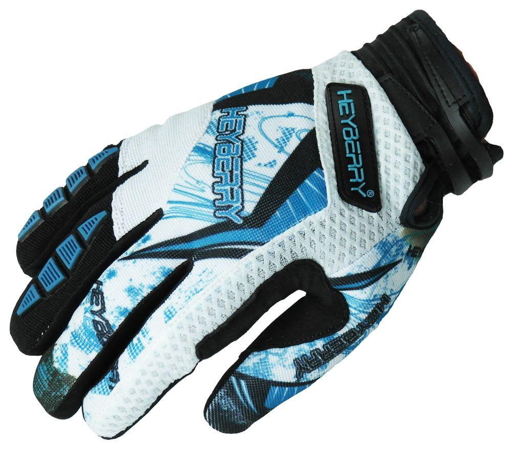 Heyberry Motocross MX Handschuhe schwarz weiß hellblau Größe: S - XXL