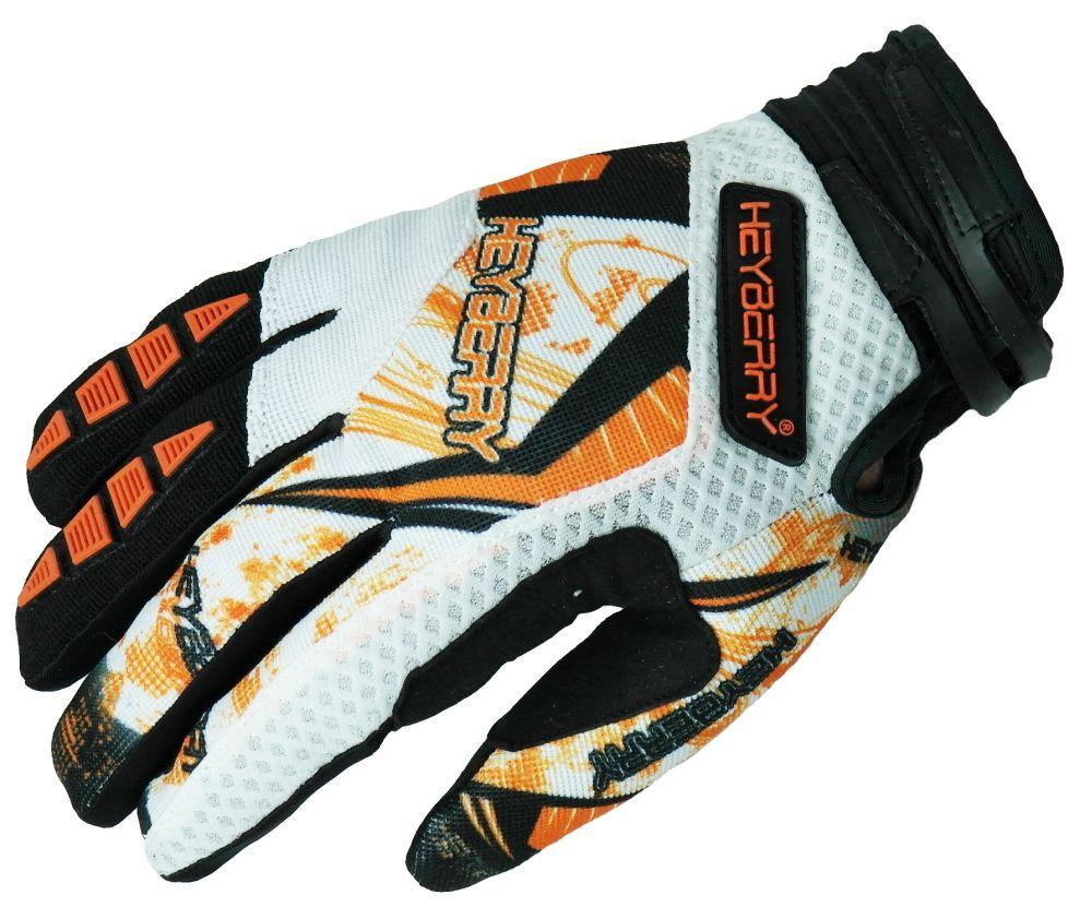 Heyberry Motocross MX Handschuhe schwarz weiß orange Größe: S - XXL