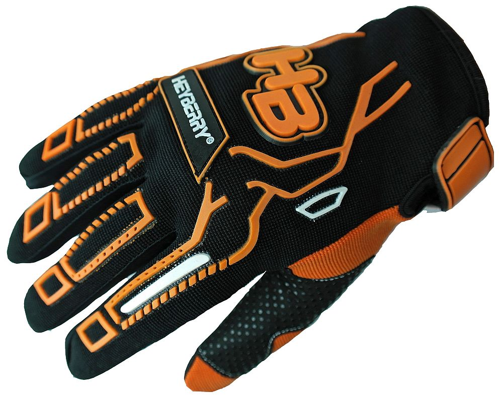 Heyberry Motocross MTB MX Handschuhe schwarz orange Gr. S - XXL