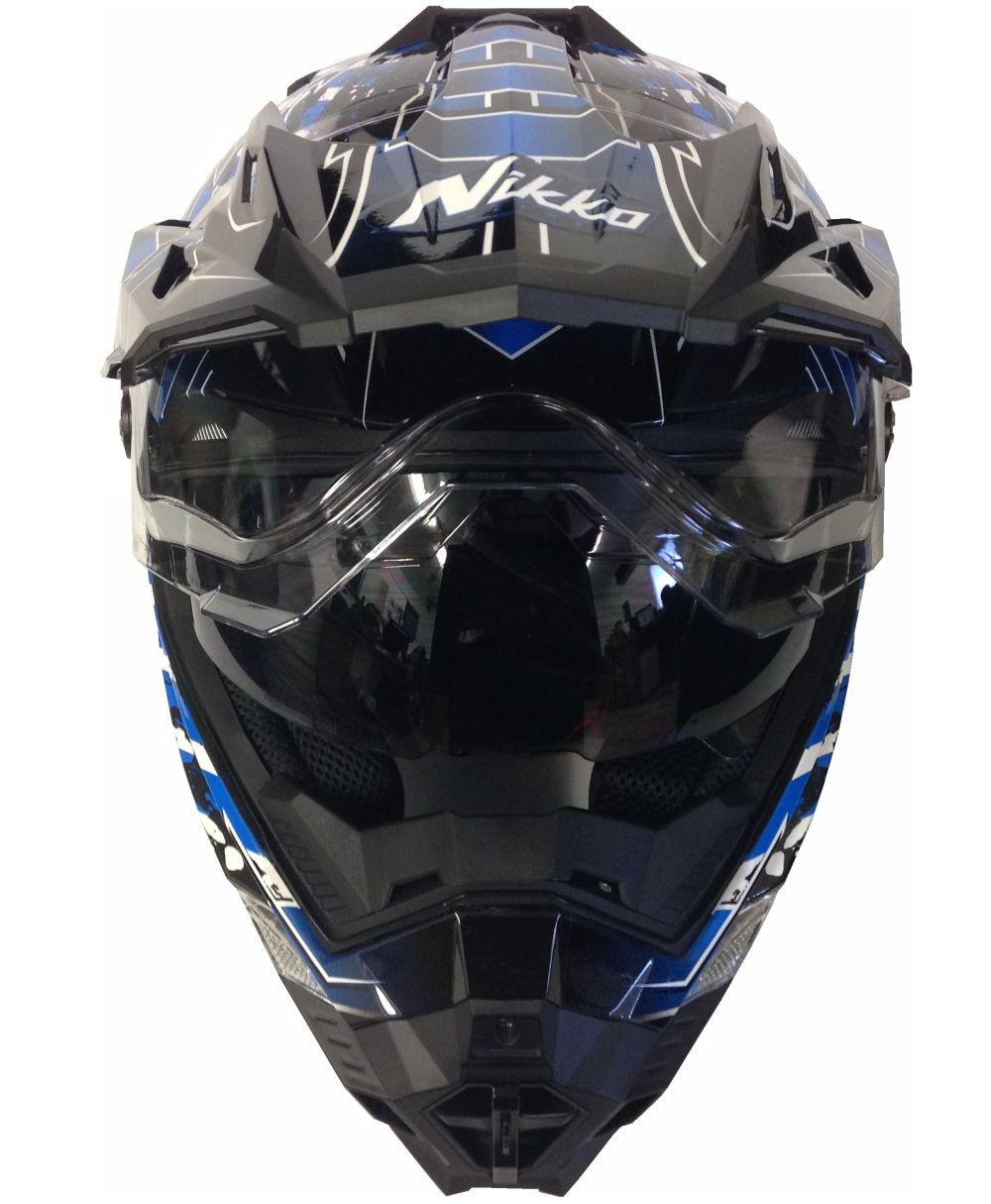 Motorradhelm MX Enduro Quad Helm Schwarz Blau mit Visier und Sonnenblende M - XL