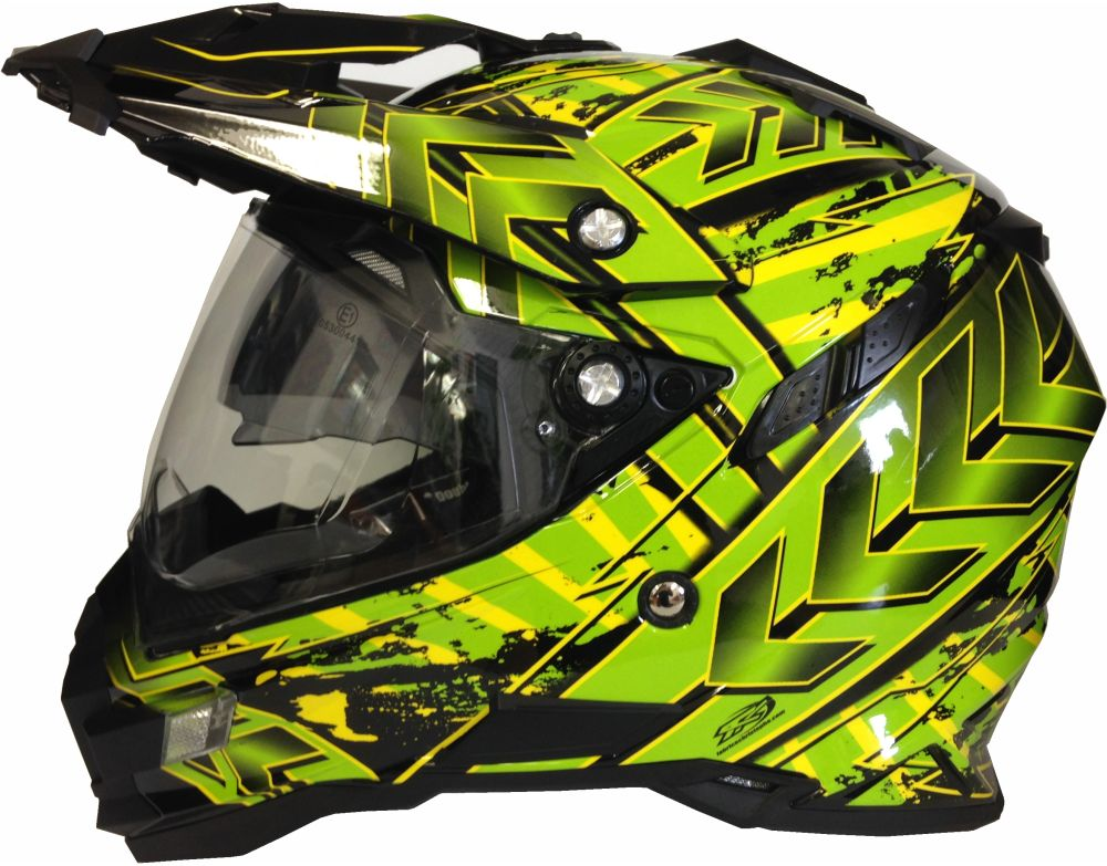 motorradhelm mx enduro quad helm schwarz gr n mit visier. Black Bedroom Furniture Sets. Home Design Ideas