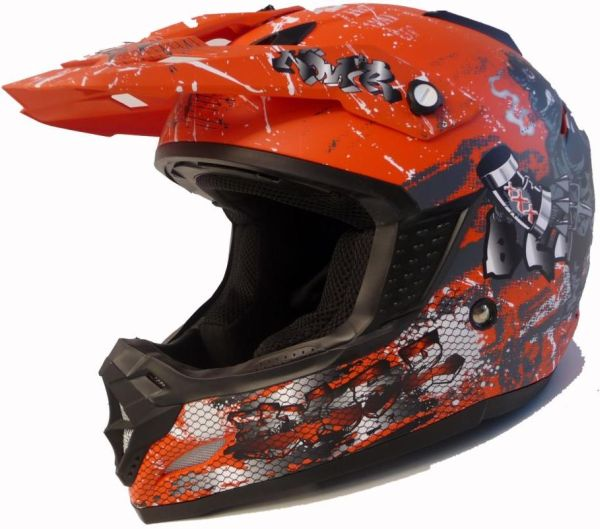 Motorradhelm Motocross Enduro Quad Helm  Orange S - XL
