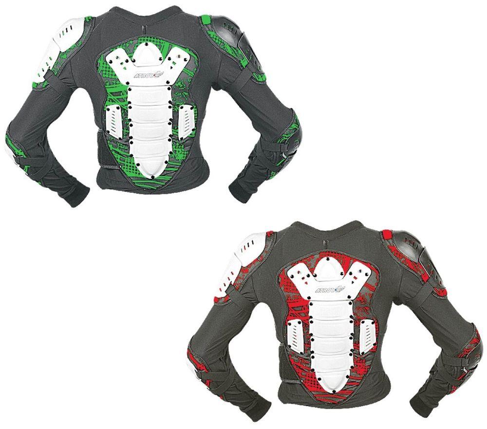 Motocross Protektoren Jacke Brustpanzer für Kinder Neon Rot 4 bis 10 Jahre