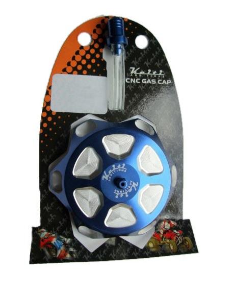 Alu Tankdeckel mit Belüftungsventil blau eloxiert 55mm