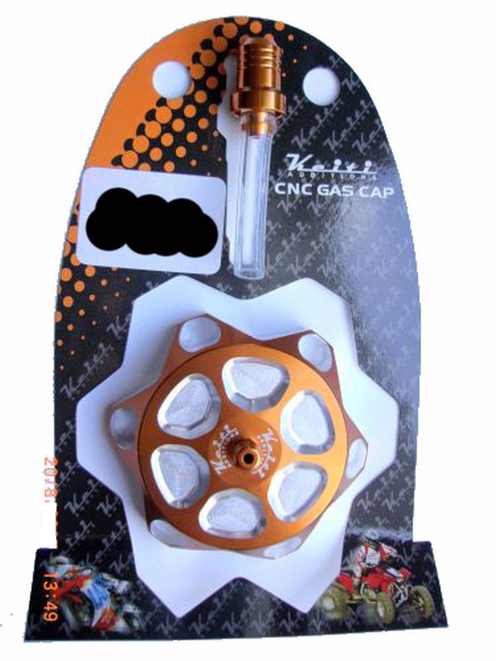 Alu Tankdeckel mit Belüftungsventil Orange eloxiert 55mm